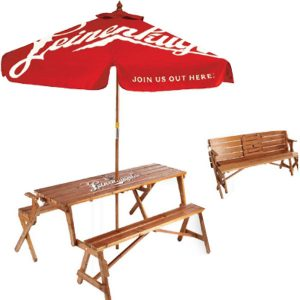 Every umbrella needs a great table. There is no better way to enjoy a summer barbecue. This table folds and transforms into a wood bench!