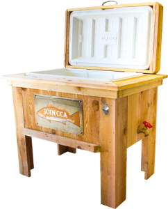 Boost your brand's summer swag with this handcrafted cedar cooler, complete with stainless steel bottle opener.