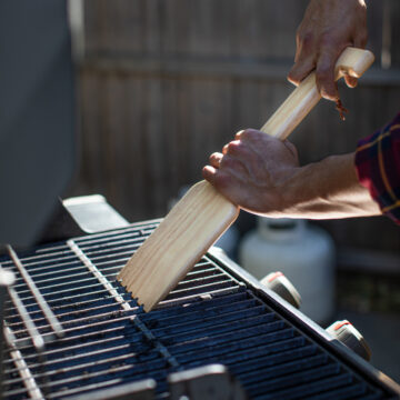 Hardwood BBQ Grill Scrapper With Bottle Opener