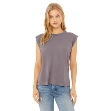 Bella + Canvas Ladies' Flowy Muscle T-Shirt with Rolled Cuff