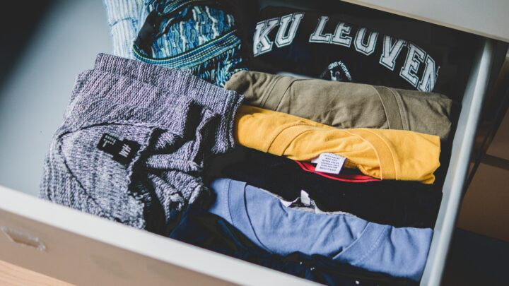 T-shirts folded in a drawer